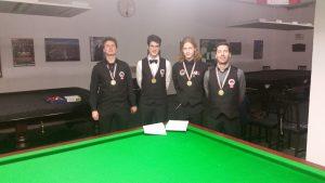 Die Drittplatzierten Wr. Meisterschaft Snooker Doppel 2016